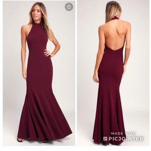 Lulu's Slice of Joy halter burgundy maxi dress